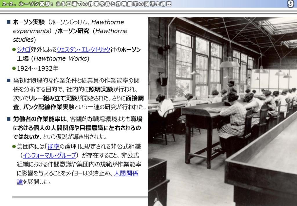 ホーソン実験、照明実験、インフォーマルグループ、人間関係論